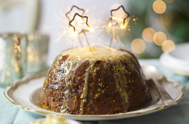 Classic figgy pudding with amaretto butter