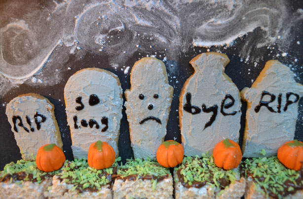 Halloween gravestone biscuits
