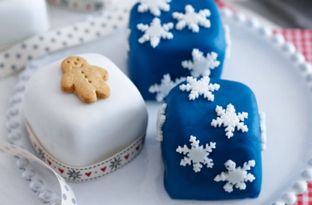 Mini snowflake and gingerbread men squares