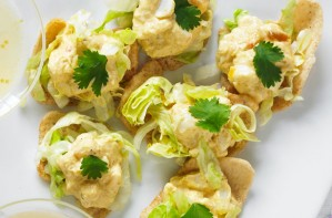 Coronation crab salad crackers