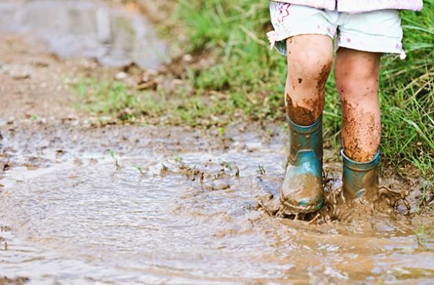 countryside muddy child