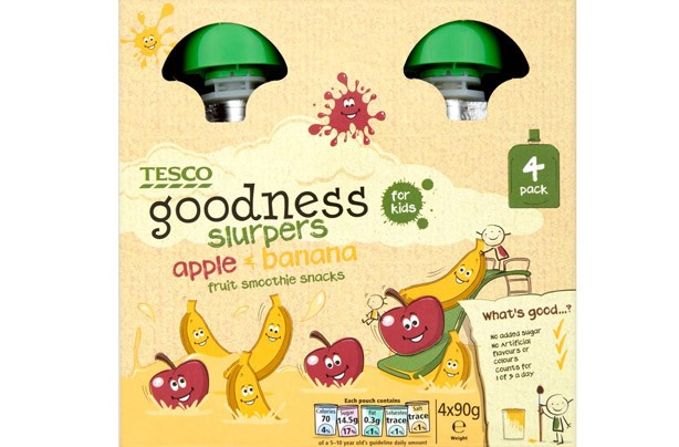 Tesco Goodness Slurper Apple and Banana smoothie