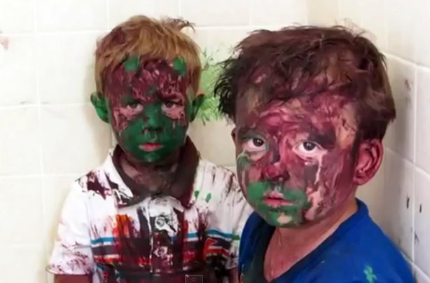 Watch: The naughty brothers who got paint all over their faces - and their dad who's trying not to laugh