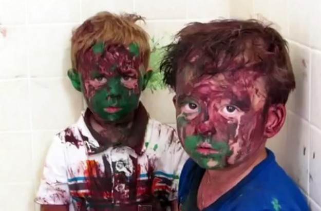 Kids get paint all over their faces YouTube video