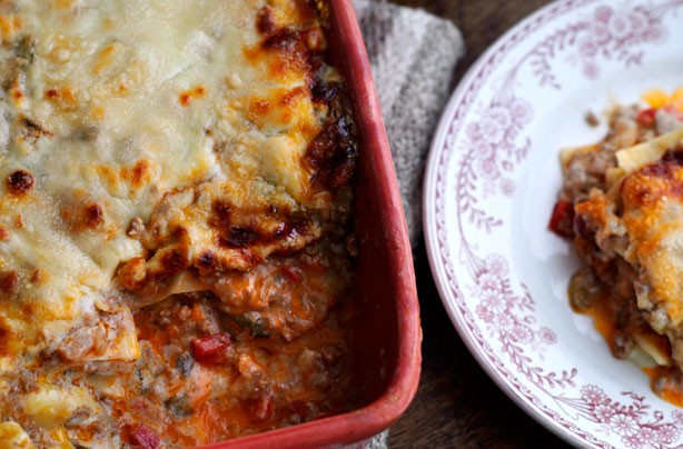 Beef, red pepper and courgette lasagne