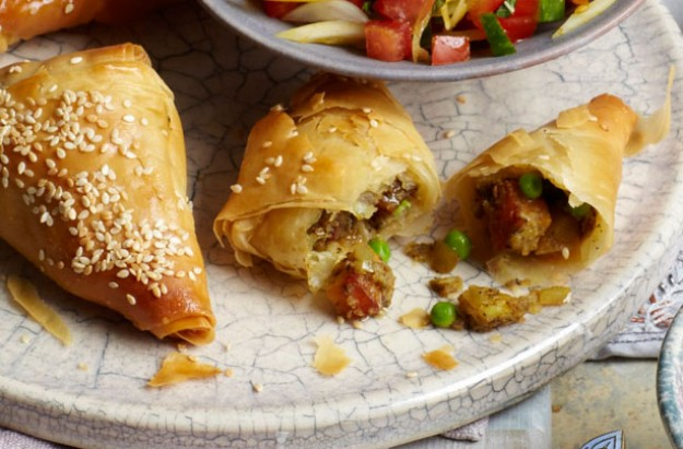 Pea and paneer samosas