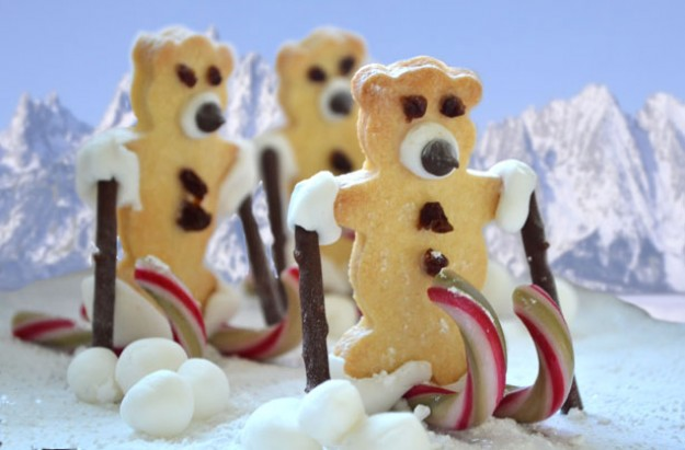 Skiing teddy bear biscuits