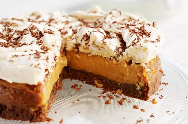 Salted caramel hazelnut meringue torte