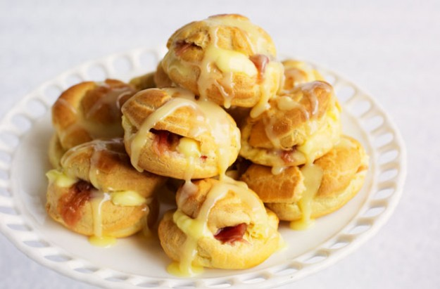 Rhubarb and custard profiterole stack