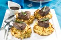 Venison steaks with roasted parsnip rosti