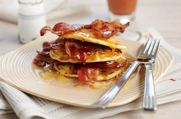 Bacon and maple syrup pancakes recipe - goodtoknow