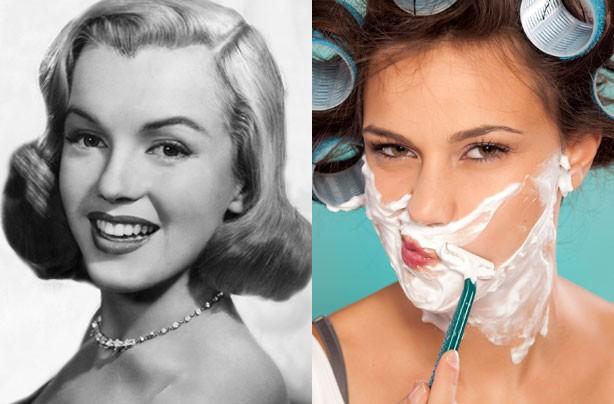 Face shaving, Marilyn Monroe