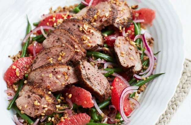 Roast duck with grapefruit and green bean salad