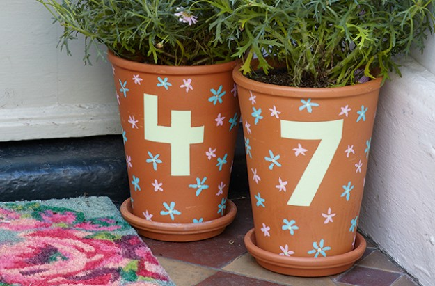 Essentials house number painted plant pot craft