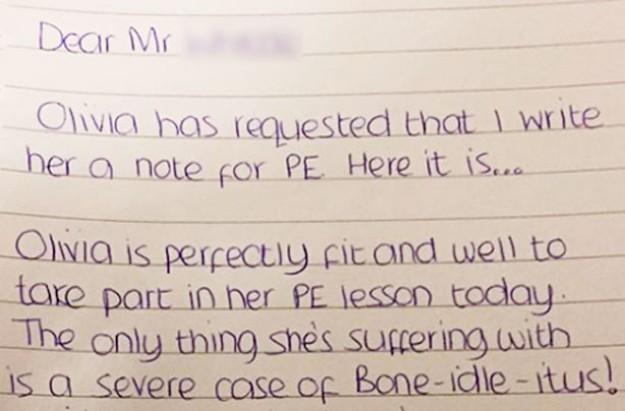 PE sick note letter