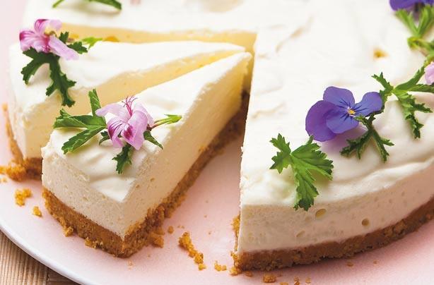 Lemon geranium cheesecake