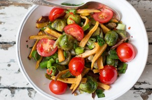 Brussel Sprout, Sweet Potato and Tomato Salad