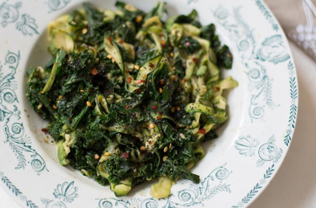 Courgette Ribbon and Kale bowl with Miso, Chilli and Avocado Dressing