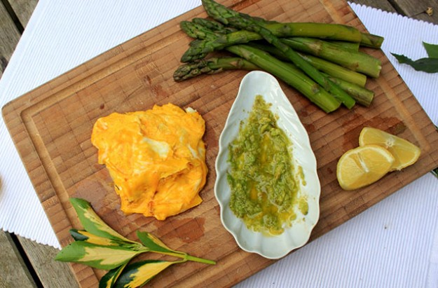 Healthy Folded Eggs with Asparagus and Avocado Puree