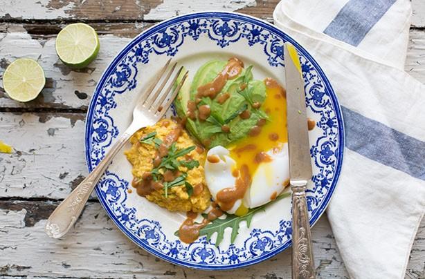 Poached eggs, avocado and miso sweet corn puree