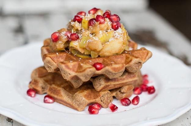 Vegan Buckwheat waffles with Cinnamon Spiced Apple