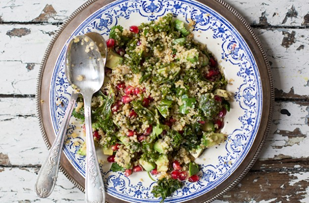 Warm Kale, Avocado, Pomegranate and Quinoa Salad