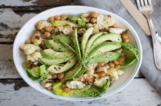 Cauliflower, Roasted Chickpea, Fennel and Avocado Salad