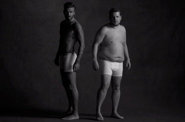 David Beckham and James Corden STRIP for hilarious spoof video!