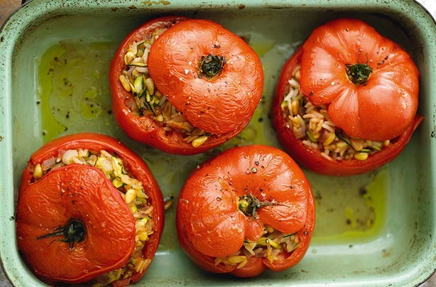 Meals under 300 calories moroccan rice stuffed tomatoes goodtoknow moroccan rice stuffed tomatoes forumfinder Images