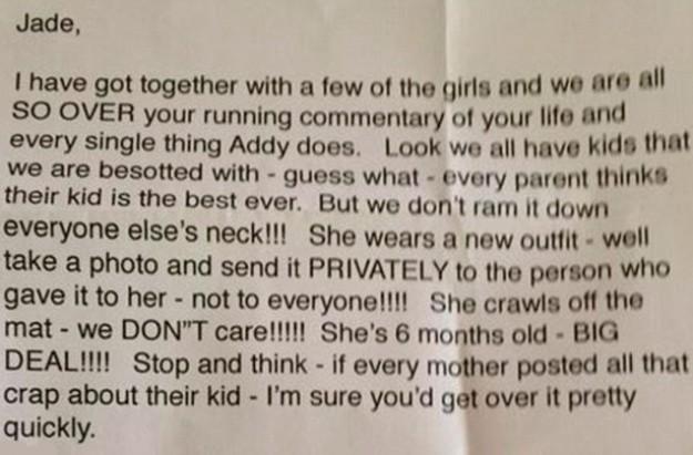 Jade Ruthven Facebook letter