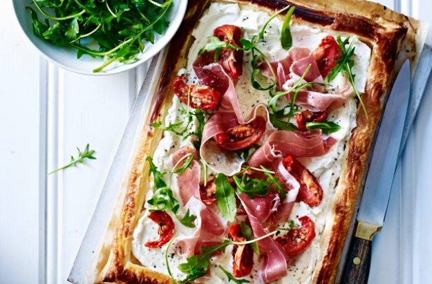 Cheese, tomato and ham deli tart