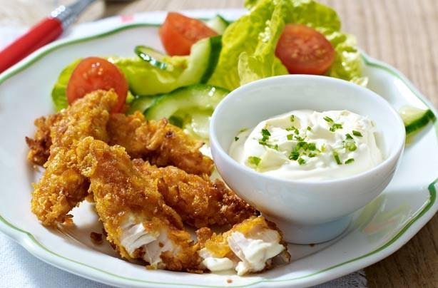 Cornflake chicken dippers