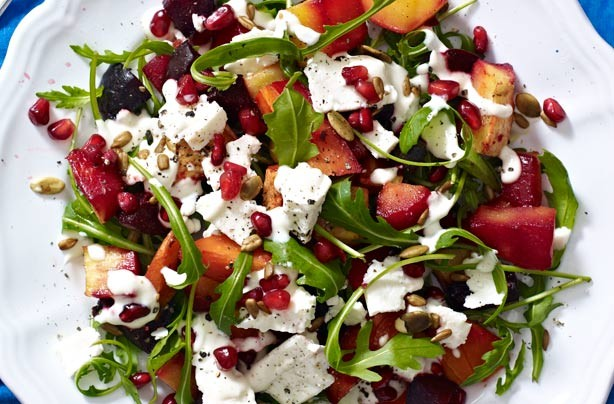 Roasted roots and feta salad with pomegranate and seeds