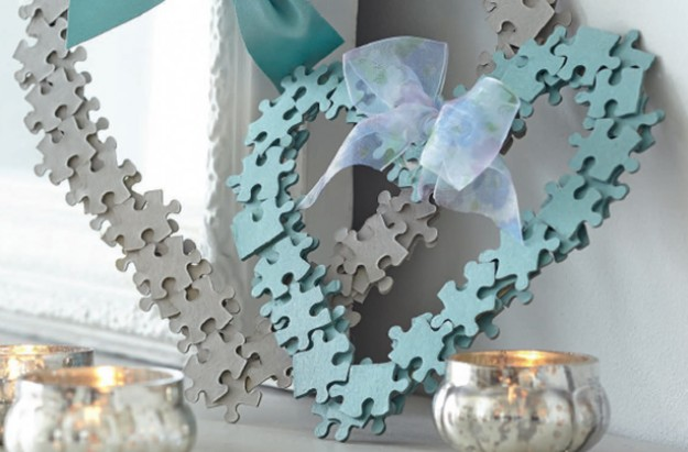 Essentials jigsaw heart wreath craft