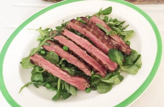 Lisa Faulkner's steak tagliate with peashoot salad