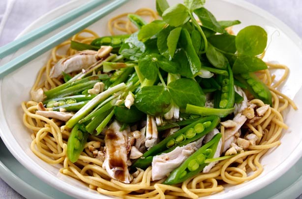 Chicken, pea and noodle salad