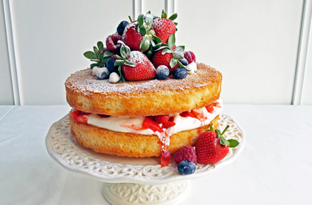 Naked cake with berries and cream recipe - goodtoknow