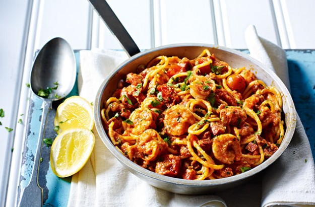 Spicy chorizo and prawn pasta recipe goodtoknow for Prawn and spaghetti recipe