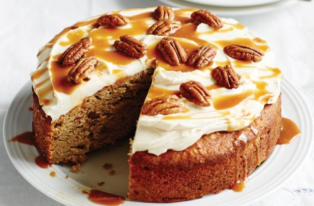 Banana cake with caramel drizzle