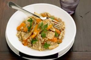Celeriac, carrot and pearl barley bake