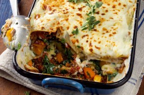 Quorn, squash and spinach lasagne