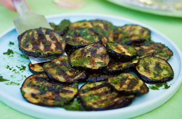 Warm aubergine salad
