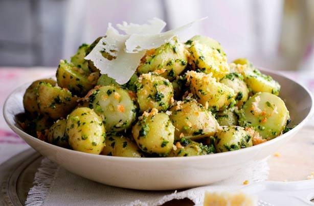 Pesto potato salad with Parmesan crumbs