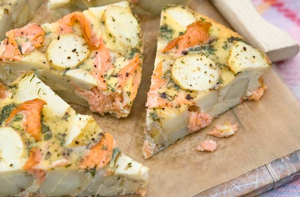 Smoked salmon and potato tortilla