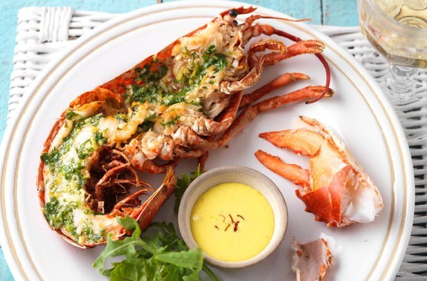 Griddled lobster with saffron mayo