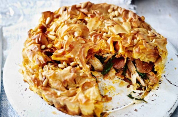Chicken and chorizo filo pie