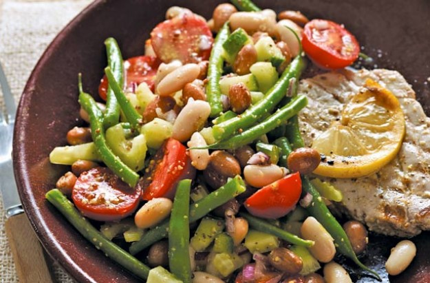 Mixed bean salad with mustard dressing