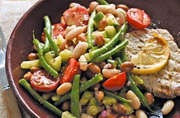 Mixed bean salad with mustard dressing