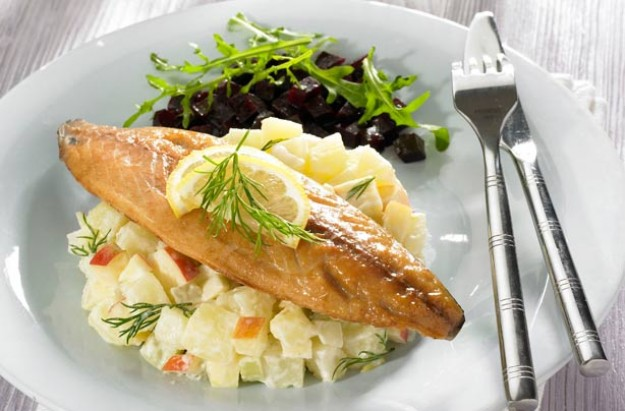 Potato and apple salad with mackerel