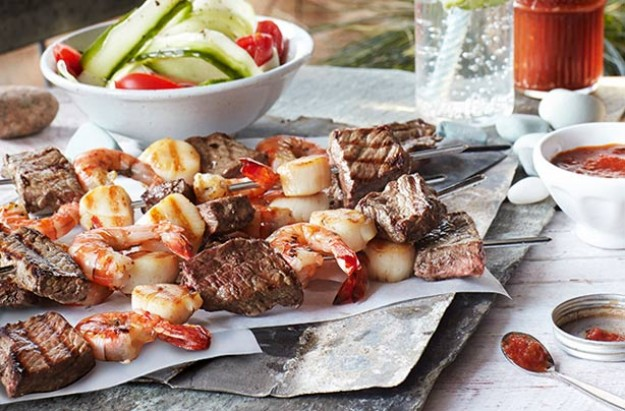 Slimming World's surf and turf skewers with fresh ketchup
